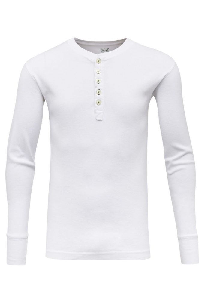 CEDAR LS Henley - Bright White - L