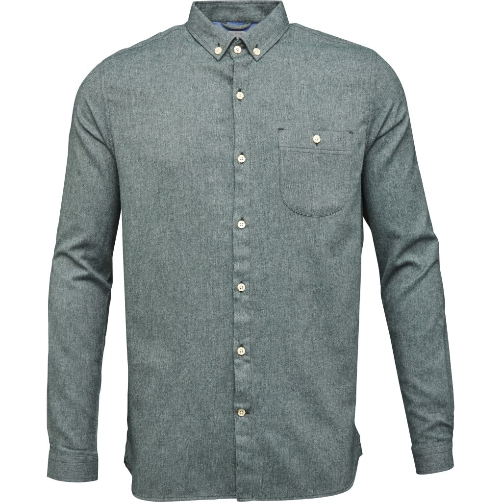 Melange Effect Flannel Shirt - Green Gables