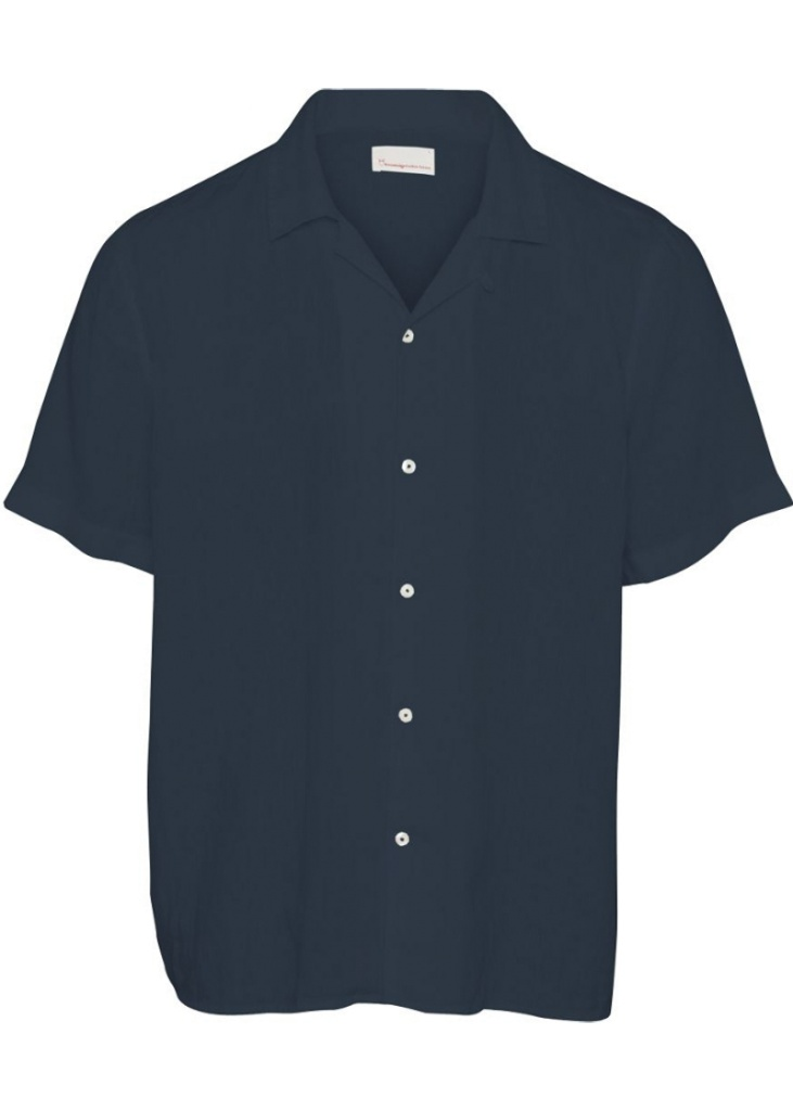 Linen Short Sleeved Shirt - Total Eclipse
