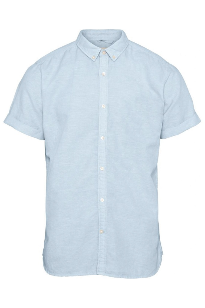 Cotton/Linen Short Sleeved Shirt - Skyway