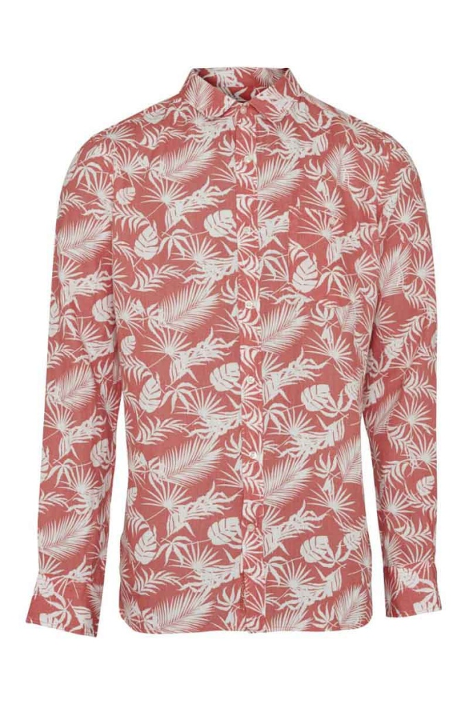 Linen Shirt with all over print - Spiced Coral
