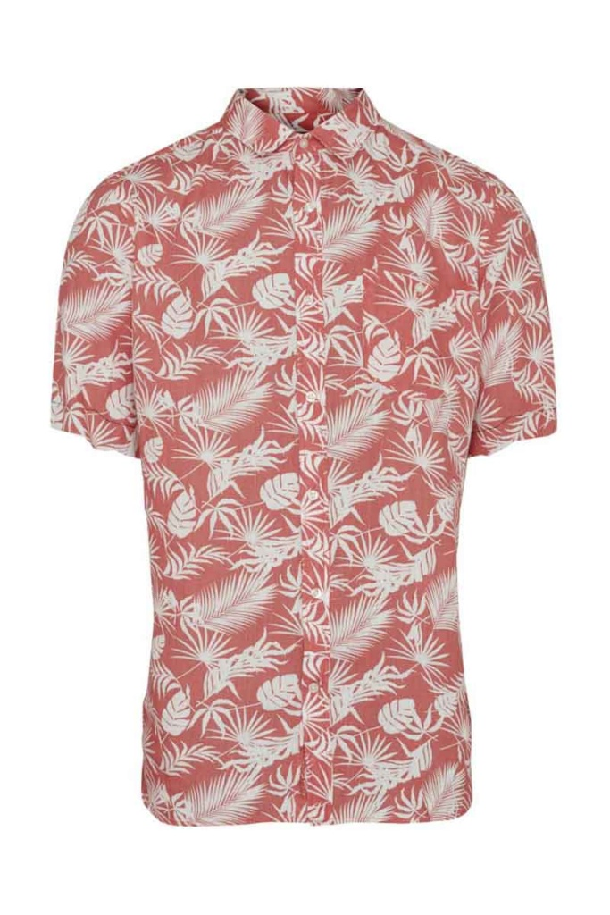 Short Sleeve Shirt w/ All Over Print - Spiced Coral