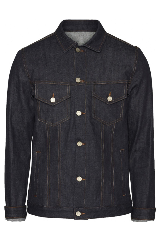 Fry Stretched Selvedge Denim Jacket - Blue  Raw