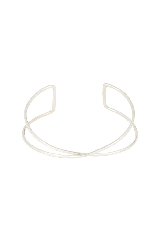 Twist Double Bangle - Silver