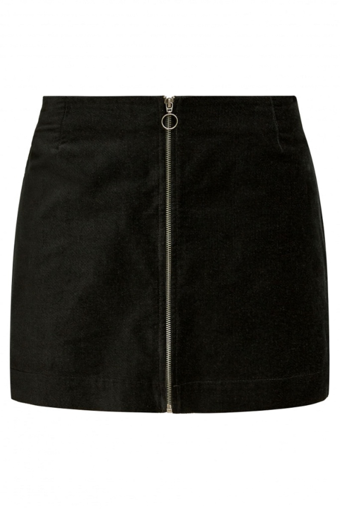 Halima Velvet Skirt - Black