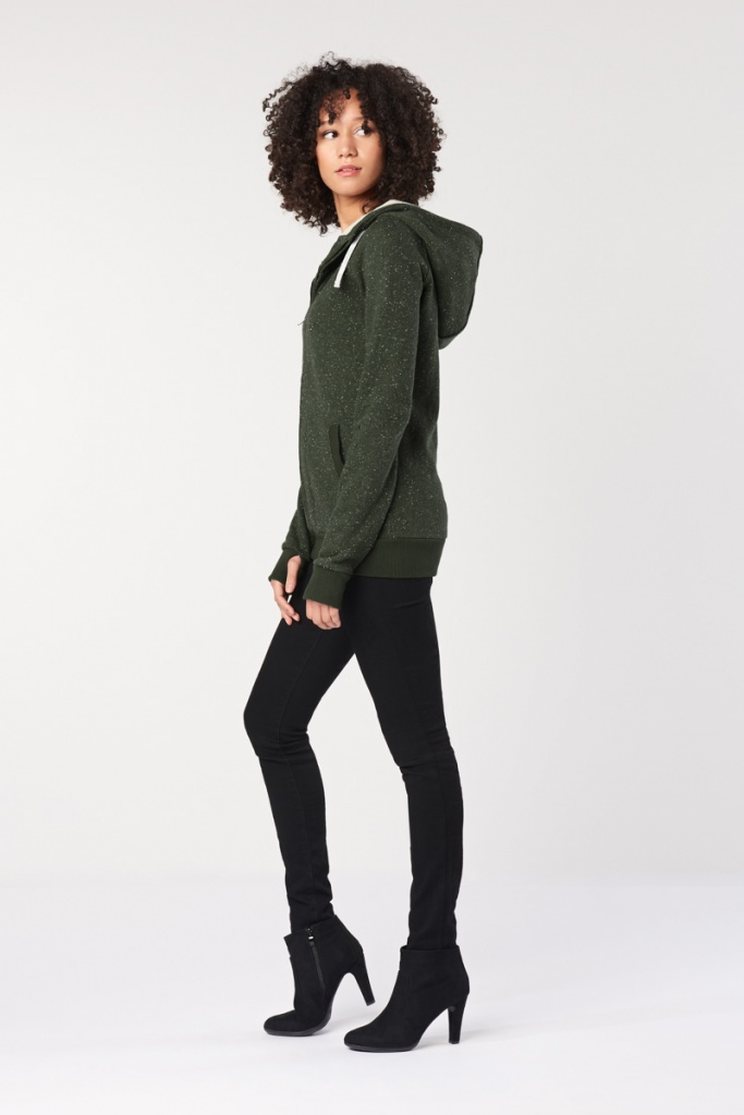 Ladies' Classic Zip Up Hoodie - Dark Olive Fleck