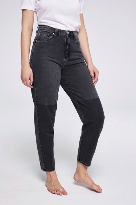 Maira Two Tone Mom Fit - Grey Wash