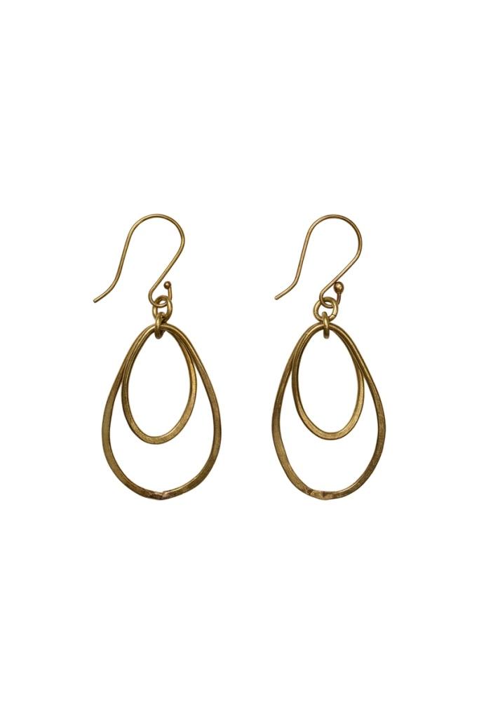 Oval Drop Earrings - Brass