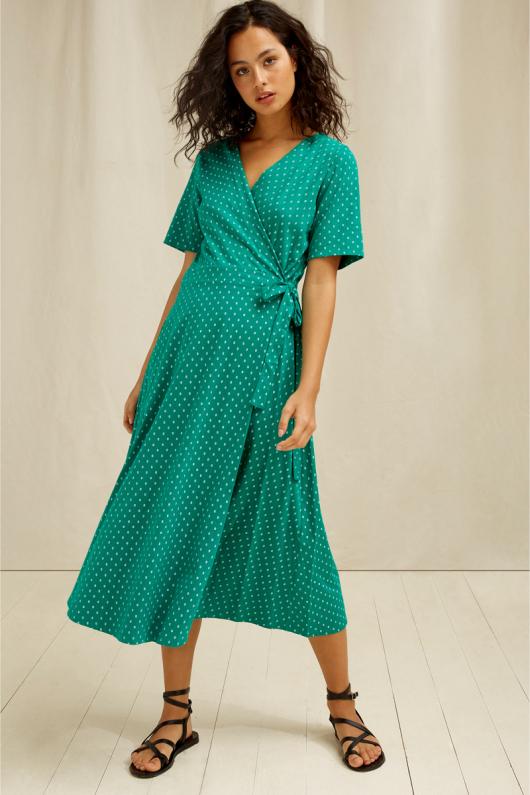 Ria Motif Wrap Dress - 08 (XS)