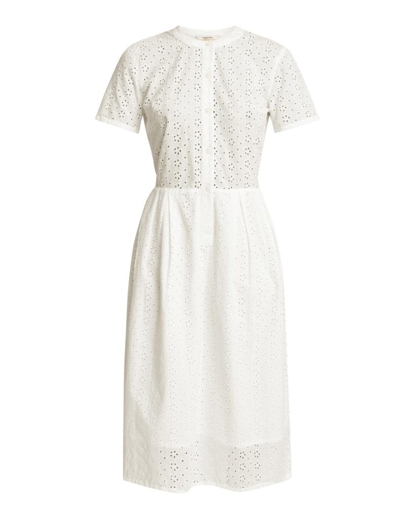 Nidia Broderie Shirt Dress - White