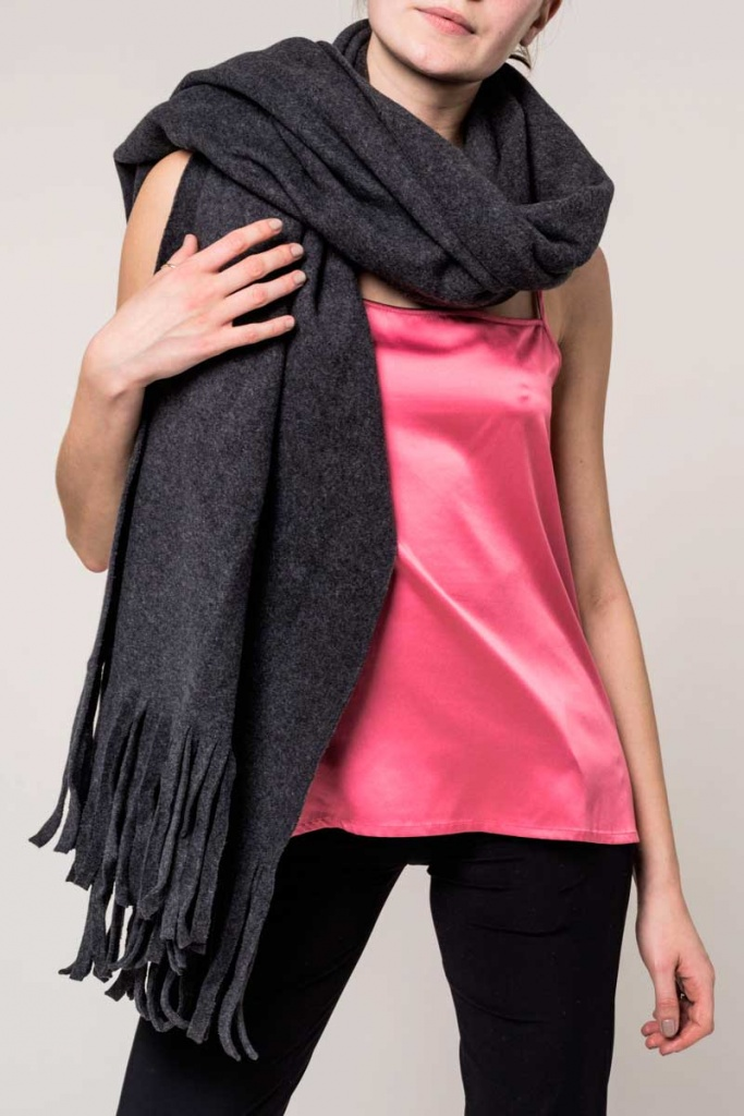 Scarf Cotton Fleece - Anthrazit