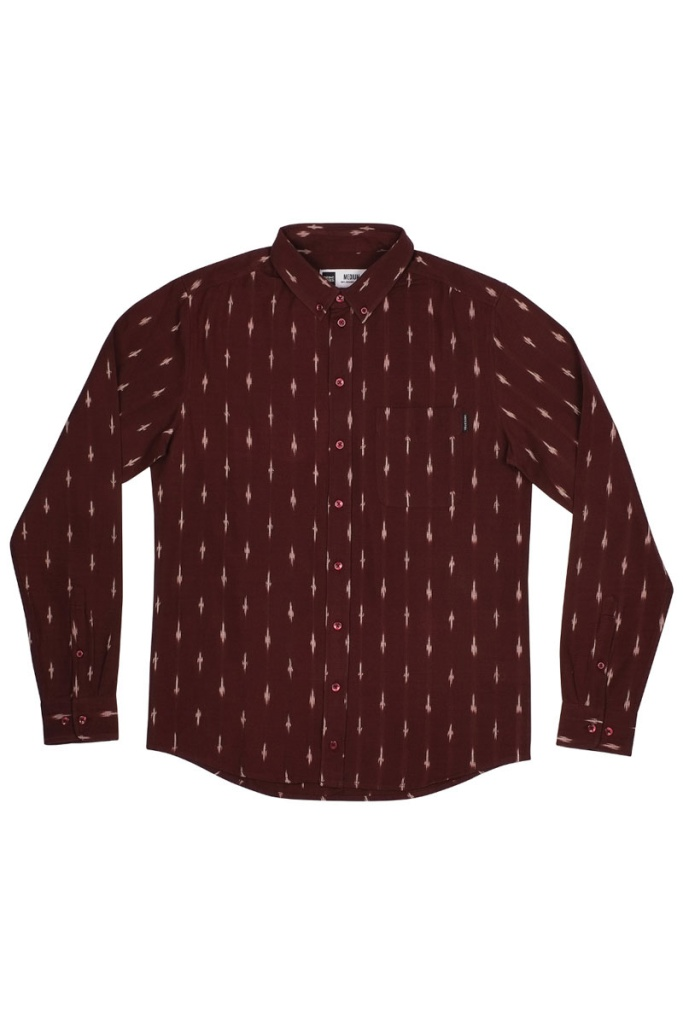 Shirt Varberg Handloom Diamonds - Burgundy