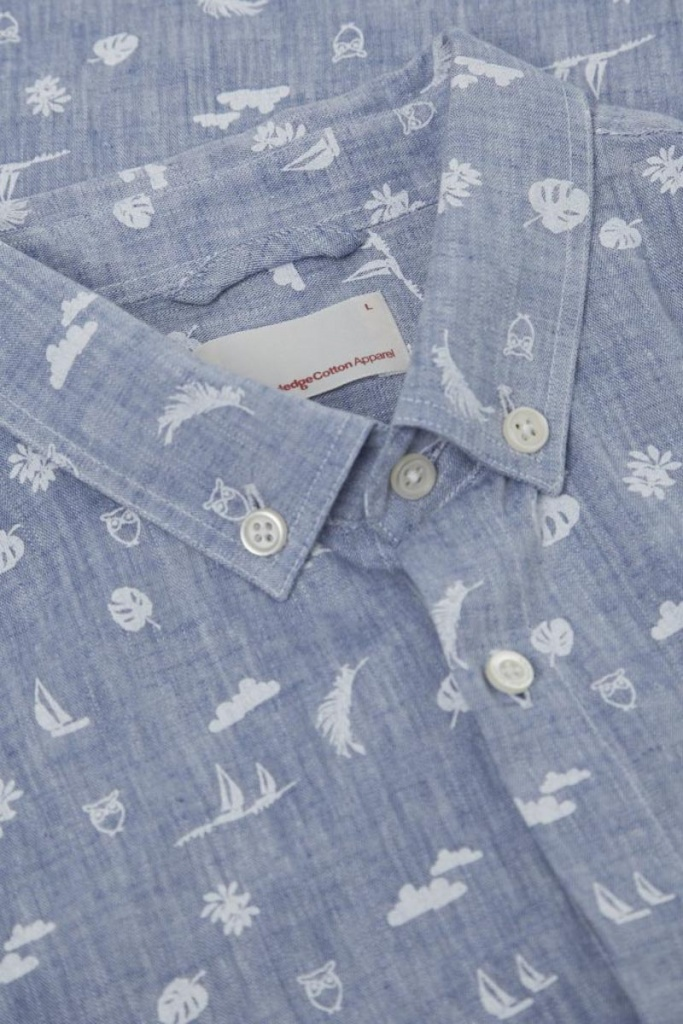 Small All Over Printed Co/Linen Shirt - Skyway