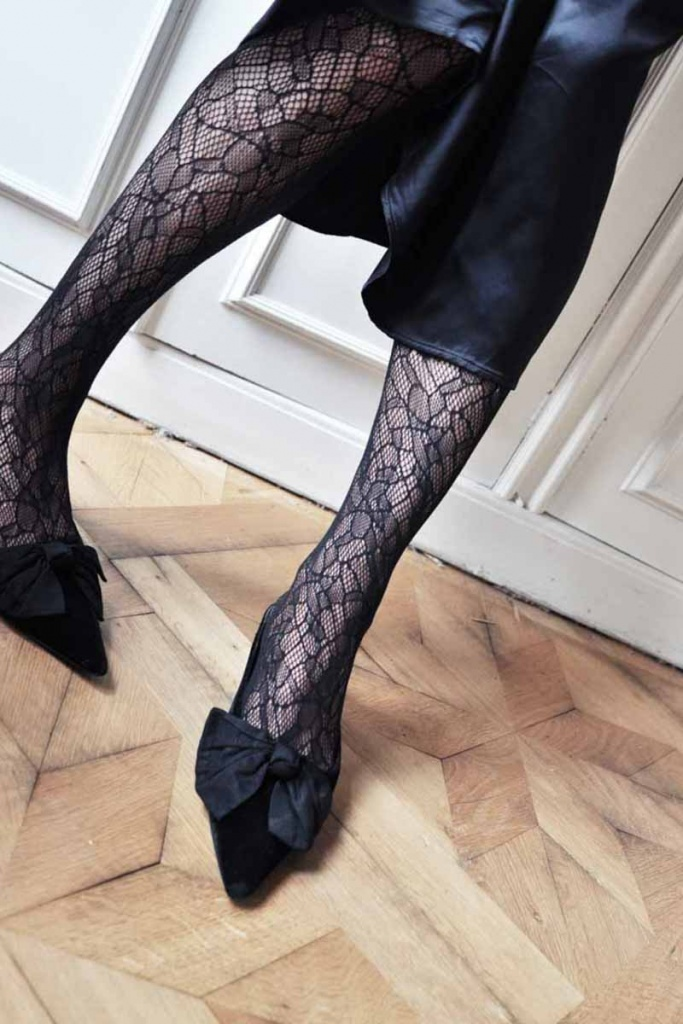 Edith Lace Tights - Black