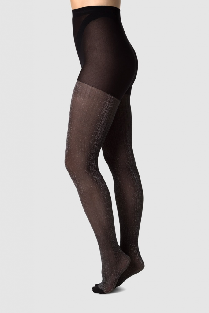 Lisa Lurex Rib Tights - Black/Silver Lurex