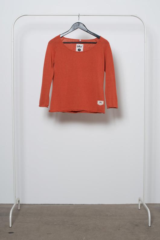 Reused Tunnstickad Tröja - Orange - XS