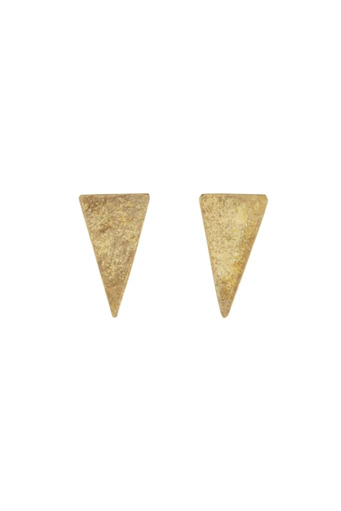 Triangle Stud Earrings - Brass