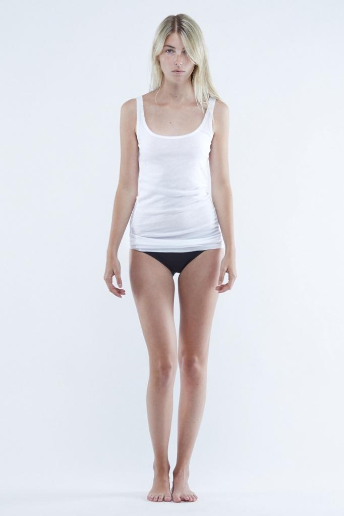 Daisy Fine Rib Long Singlet - White