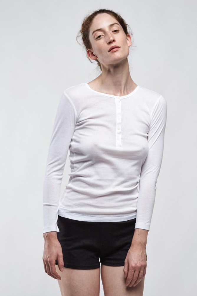 Wood Fine Rib Henley - White