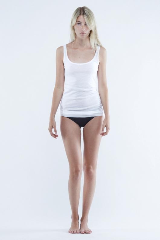 Daisy Fine Rib Long Singlet - White - L