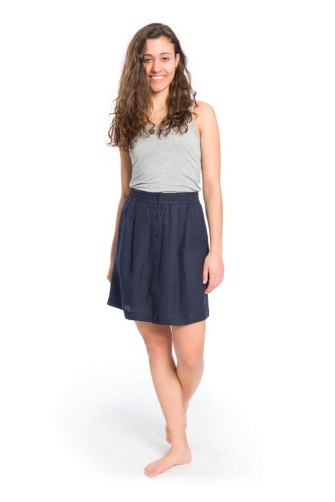 TENCEL™ Linen Skirt - Navy
