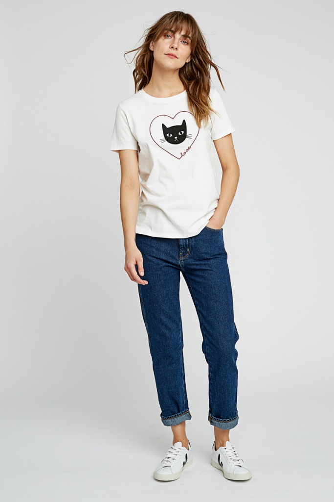 Heart Cat Tee - White