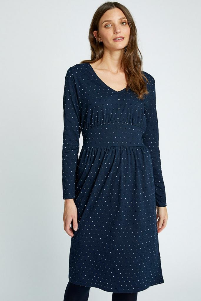 Maria Dot Dress - Navy