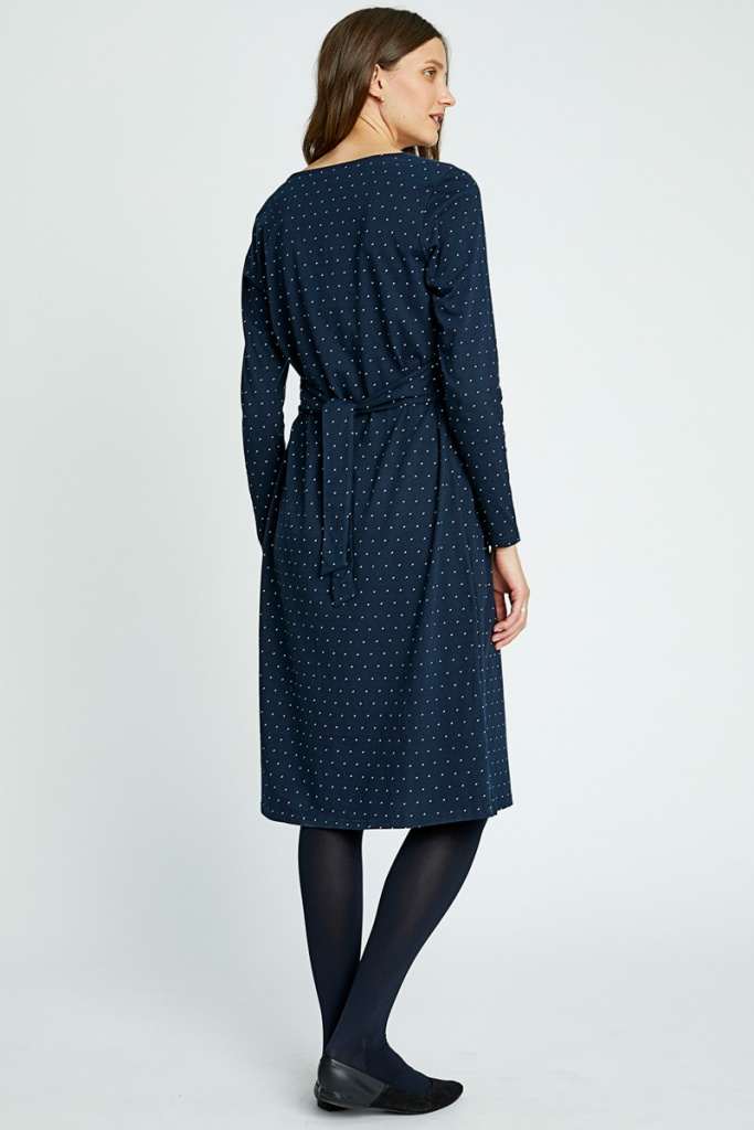 Maria Dot Dress - Navy