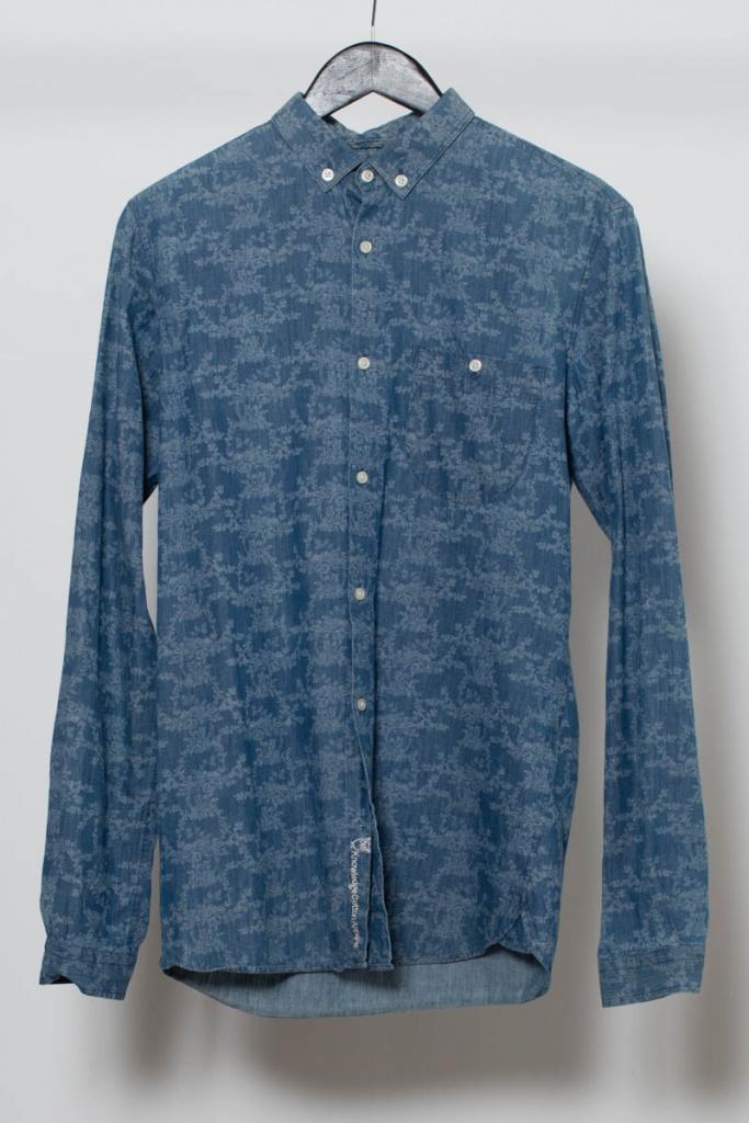 Reused Blommönstrad Skjorta - Blå/Vit - S