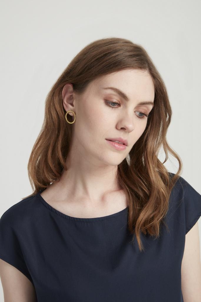 Simple Circle Earrings - Brass