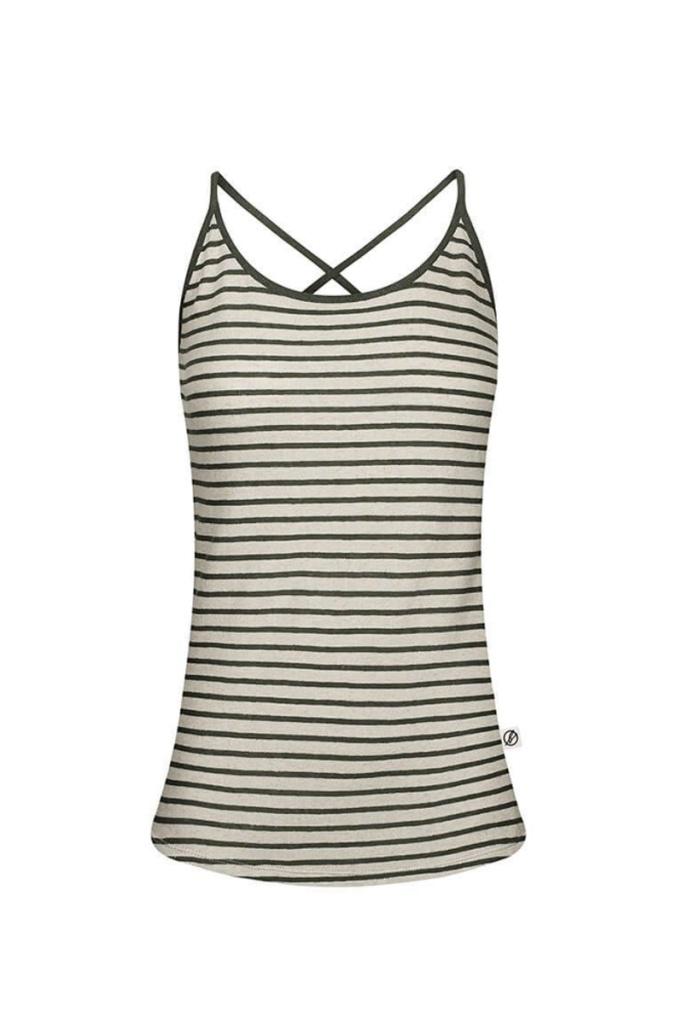 String Top Striped Linen - Dark Green - XS