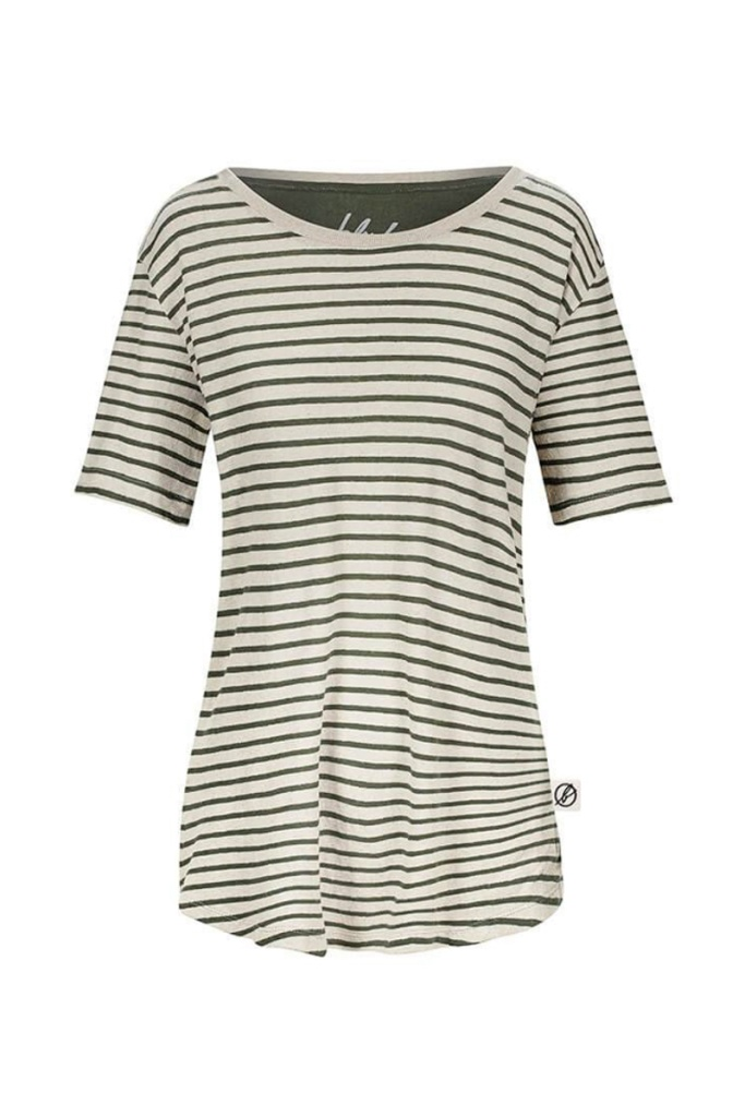 Striped T-shirt Linen Feminine - Dark Green - XS