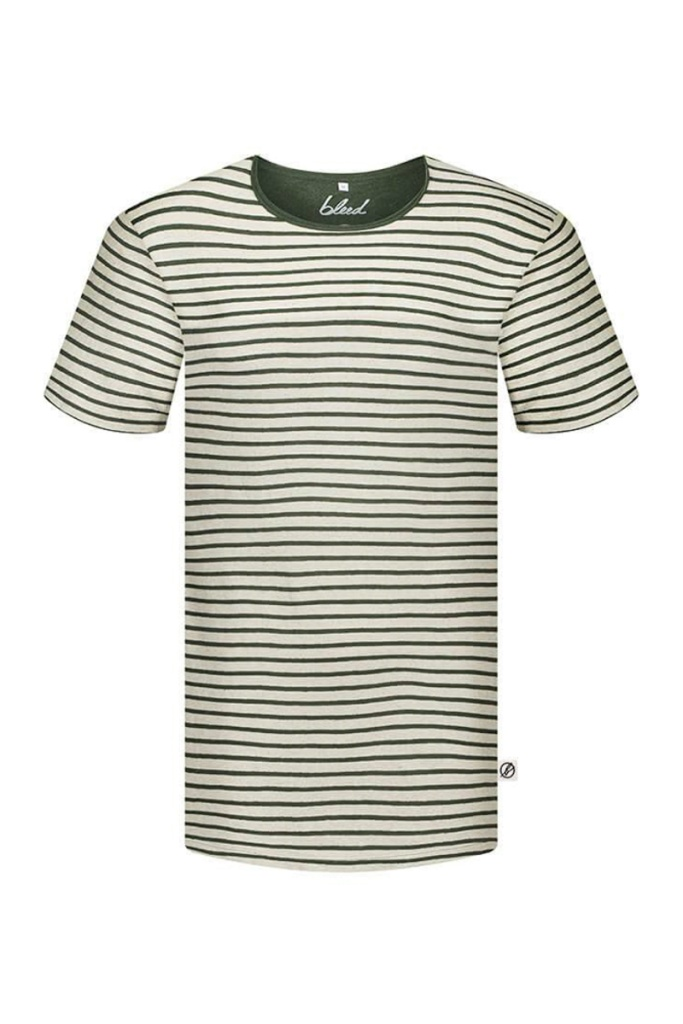 Striped T-shirt Linen Masculine - Dark Green - M