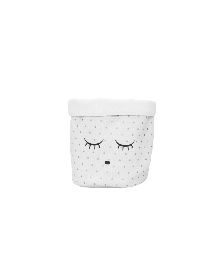 SMALL CANVAS BASKET, white/silver dots