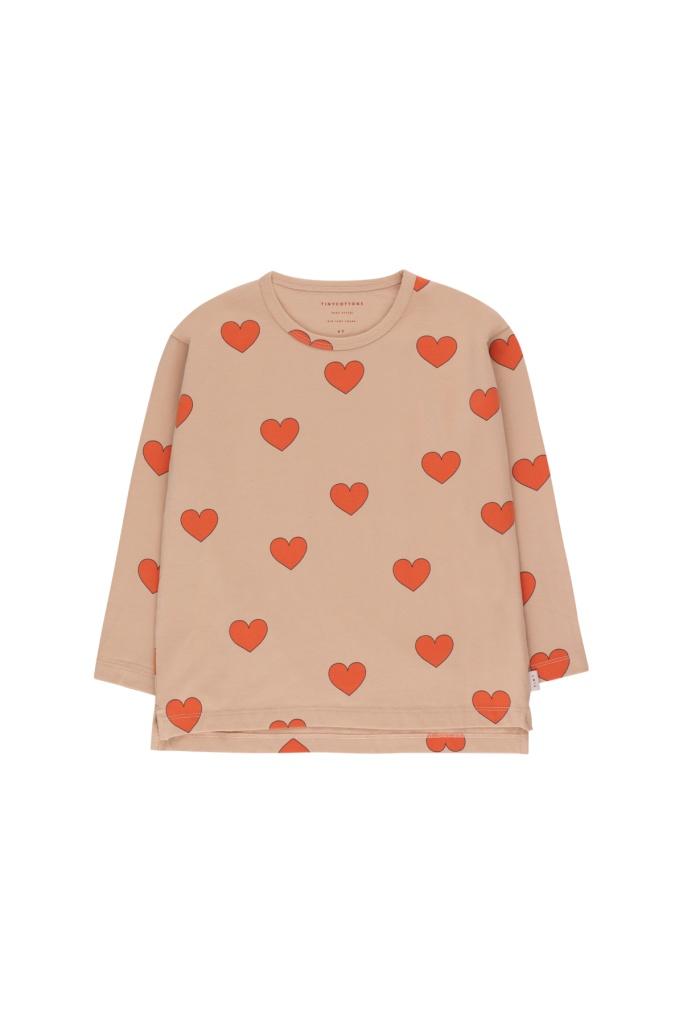 Hearts LS Tee Light nude/red
