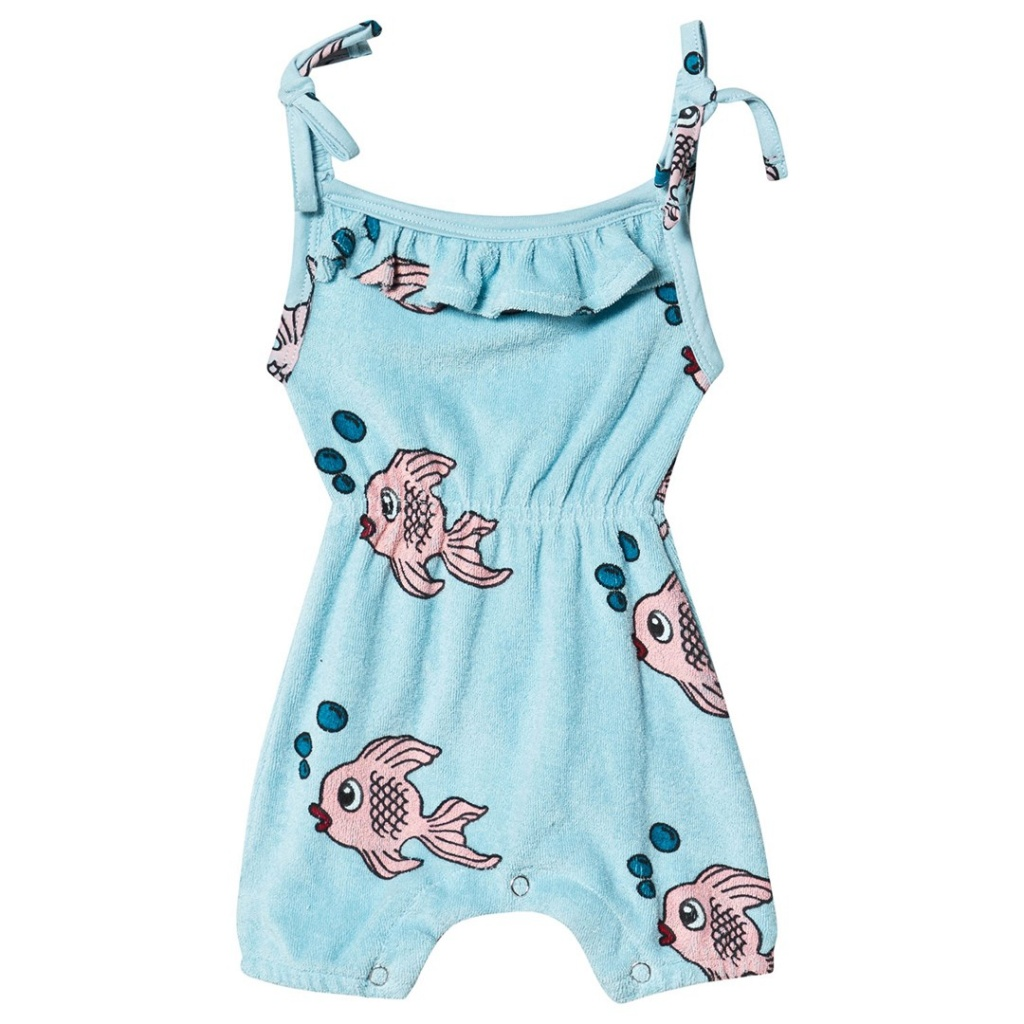 Fish Frotté Romper Blue