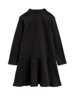 Solid rib turtleneck dress Black
