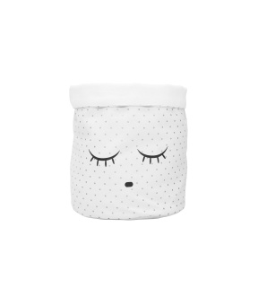 MEDIUM CANVAS BASKET, white/silver dots