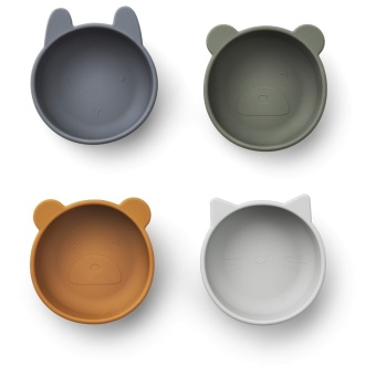 Iggy silicon bowls blue mix, 4 st