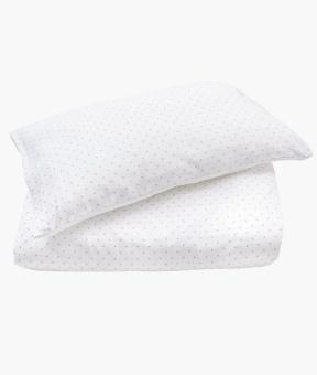 Bedding set white/silver dots