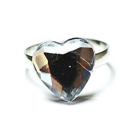 Ring - Strass - Hjärta silver