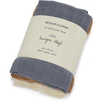 3 PACK MUSLIN CLOTHS/FRENCH BLUE