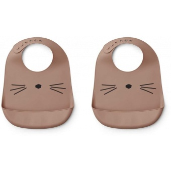 Tilda silicone bib cat dark rose 2 pcs