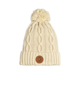 Cable knitted pompom hatoffwhite