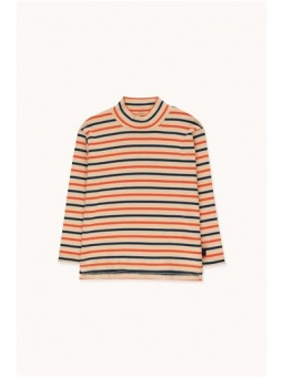 STRIPES MOCKNECK TEE cappuccino/light navy/red