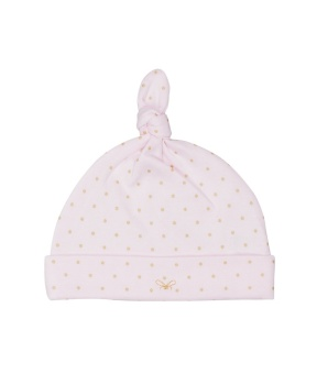 Saturday Tossie Hat Baby Pink/Gold Dots