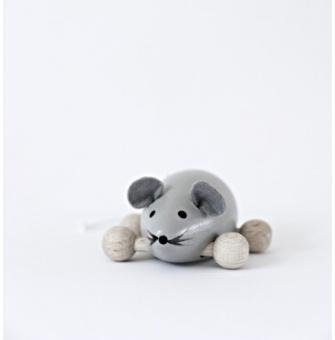 Träfigur Molly mus, grå
