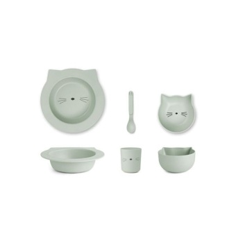 Bambu babymatset Barbara, Cat Dusty Mint