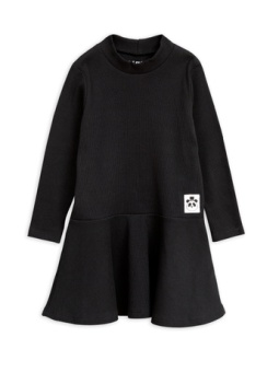 Solid rib turtleneck dress Black