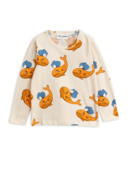 Whale aop ls tee / Orange